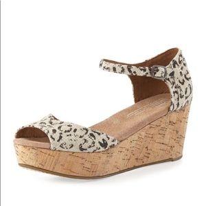 TOMS Leopard-Print Cork Platform Wedge Sandal